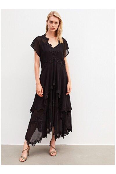 Kadın Siyah Tüllü Uzun Elbise