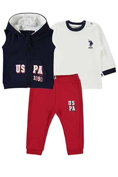 Erkek Bebek Kırmızı Yelekli 3'lü Takım