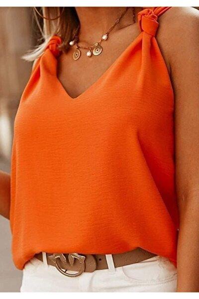 Yeni Model Kadın Askı Detay V Yaka Ayrobin Bluz (kiremit)