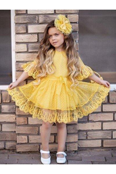 Kız Çocuk Sarı Prenses Güpürlü Çantalı Elbise