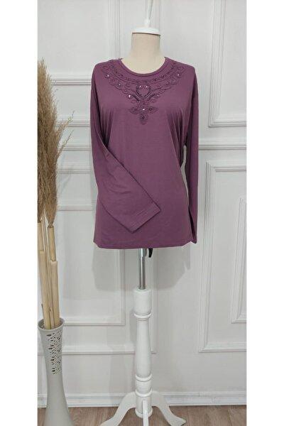 Kadın Toz Pembe Penye Bluz