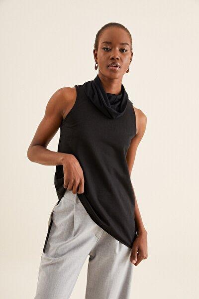 Kadın  Tül Detay Asimetrik Bluz
