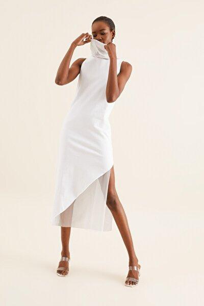 Kadın Beyaz Tül Detay Tunik Elbise