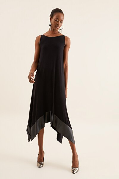 Kadın Siyah Deri Detaylı Asimetrik Elbise