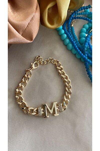M Harfli Klasik Zincir Altın Kaplama Bileklik
