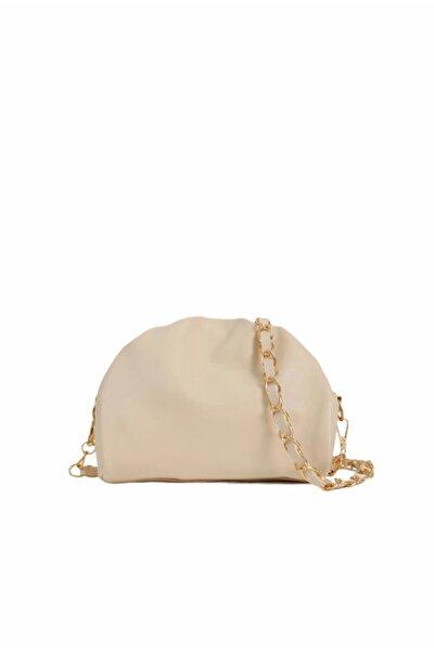 Kadın Bej Fermuarlı Askılı Çanta