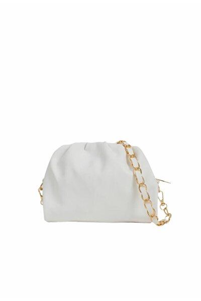 Kadın Beyaz Fermuarlı Askılı Çanta