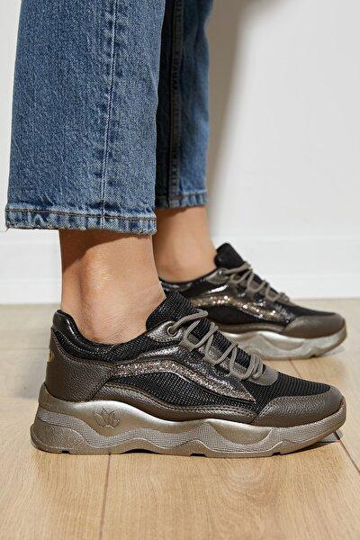 Kadın Bronz Bağcıklı Spor Ayakkabı Dgf142