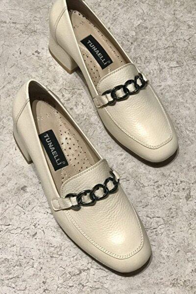 Kadın Bej Hakiki Deri Topuklu Ayakkabı