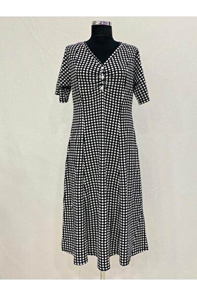 Kadın Penye Kısa Kol Puantiyeli Elbise Boydan Kulplu Yaka Düğme Ve Büzgülü Çan Etekli Elbise 9995