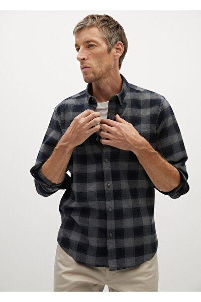 Erkek Siyah Regular Kesim Kareli Oduncu Gömlek