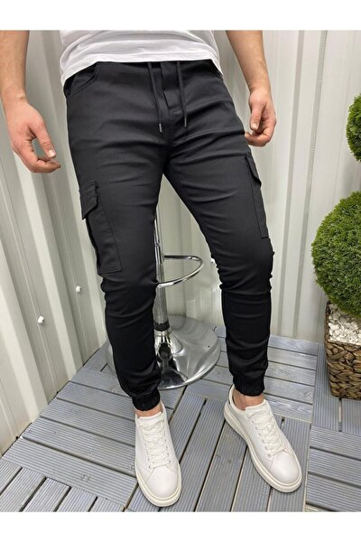 Slim Fit Beli Ve Paçası Lastikli Kargo Cep Pantolon (Siyah)