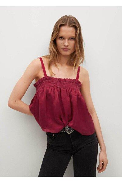 Kadın Bordo Askılı Dökümlü Üst Bluz