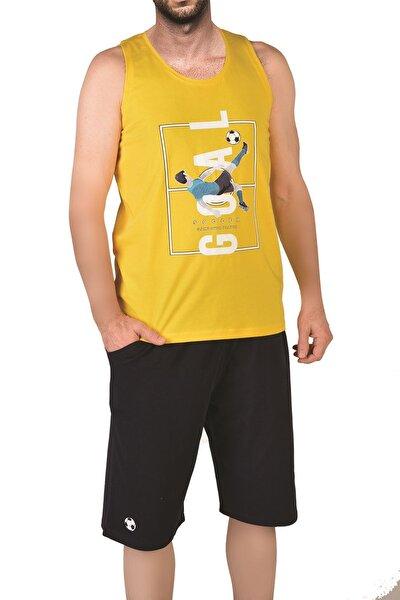Sarı Erkek Şortlu Bermuda Pijama Takımı Geniş Askılı Cepli Pamuk