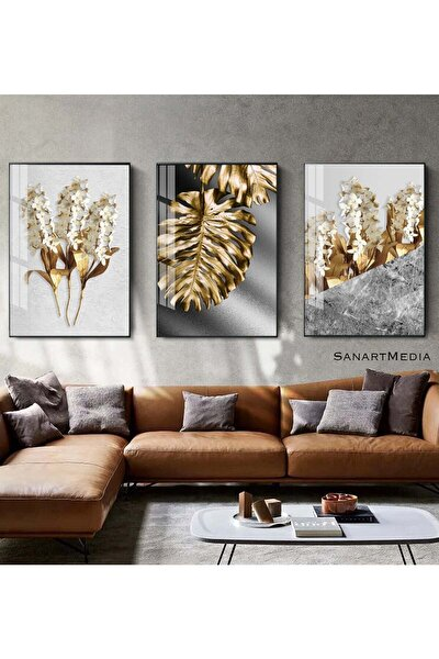 3'lü Altın Yaprak Ve Çiçekli Çerçeveli Camlı Tablo Seti Poster Duvar Dekoru Modern Oturma Odası