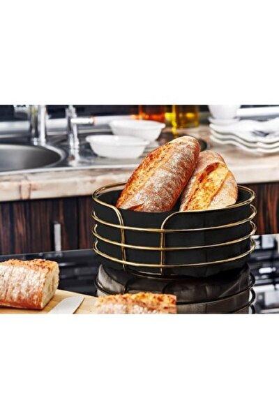 Paslanmaz Metal Gold Şeritli Siyah Kumaş Yuvarlak Ekmeklik Ekmek Sepeti