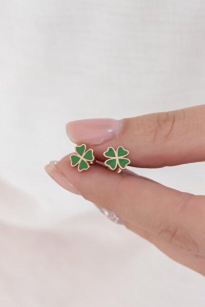 925 Ayar Minik Yeşil Yonca Küpe Kadın Gümüş Küpe