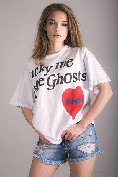 Kadın Mad Girls Beyaz Baskılı  T-Shirt Mg1109
