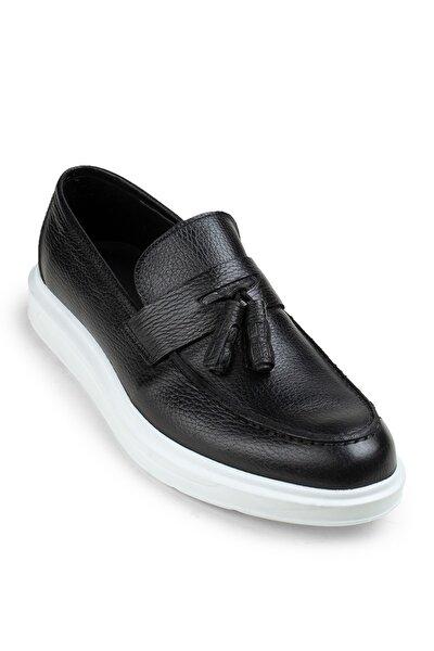Erkek Siyah Hakiki Deri Comfort Püsküllü Loafer
