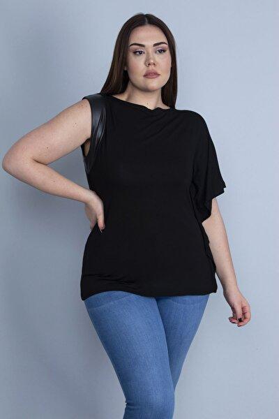 Kadın Siyah Tek Kol Ağzı Suni Deri Detaylı Düşük Kollu Bluz 65N25593