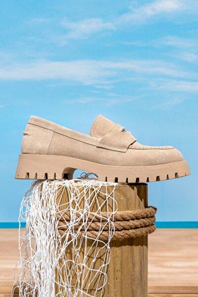 Kadın Bej Süet Deri Kalın Tabanlı Loafer Ayakkabı