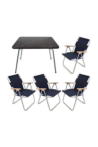 Granit Katlanır Masa + 4 Adet Katlanır Sandalye Bahçe Balkon Takımı Lacivert