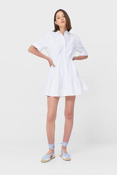 Kadın Beyaz Kısa Gömlek Elbise