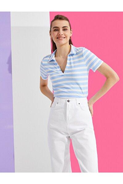 Kadın Mavi Polo Yaka T-Shirt