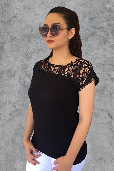 Kadın Siyah Robası Güpür Bluz