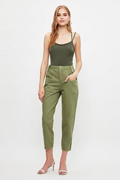 Haki Cep Detaylı Yüksek Bel Slouchy Jeans TWOSS21JE0701