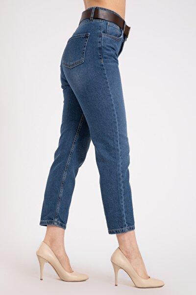 Kadın Yüksek Bel Kemerli Mavi Kot Pantolon 2174