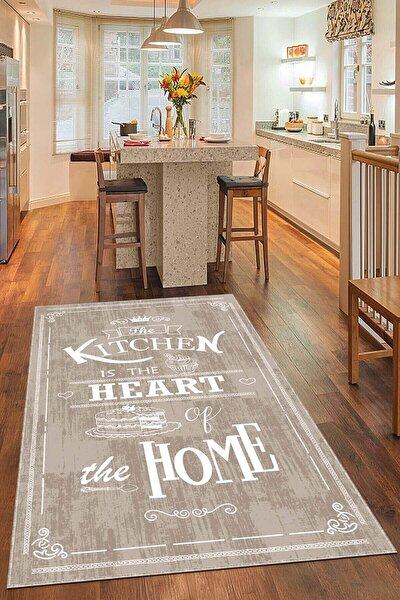 Kaymaz Tabanlı Makinede Yıkanabilir Dekoratif Retro Kitchen Mutfak Halısı AR527