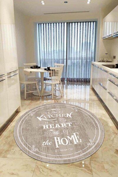 Kaymaz Tabanlı Makinede Yıkanabilir Dekoratif Retro Kitchen Yuvarlak Mutfak Halısı AR537