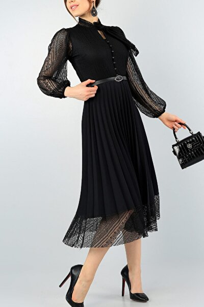 Pilise Detay Kemerli Tasarım Uzun Kollu Siyah Dantel Abiye Elbise 57834