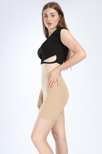 Kadın Ten Rengi Elbise Altı Yüksek Bel Pamuklu Şort
