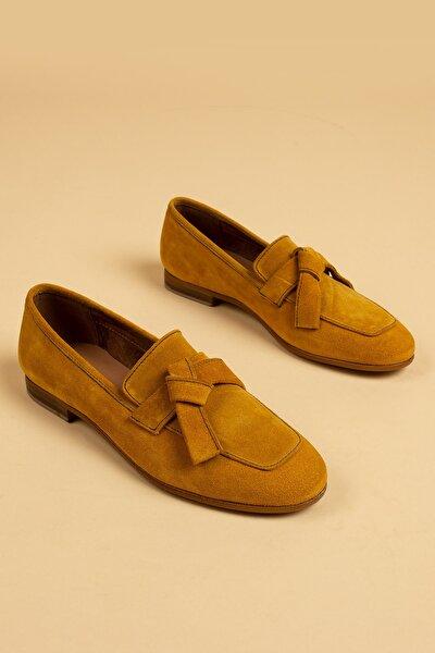 Kadın Hardal Süet Loafer Ayakkabı