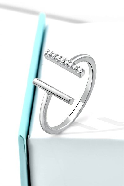 Minimalist Zirkon Taşlı Köprü Model Gümüş Ayarlanabilir Yüzük