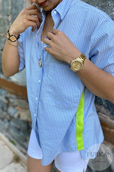 Kadın Mavi Yanı Düğme Ve Neon Şerit Detaylı Tek Cep Oversize Salaş Kalıp Ince Gömlek