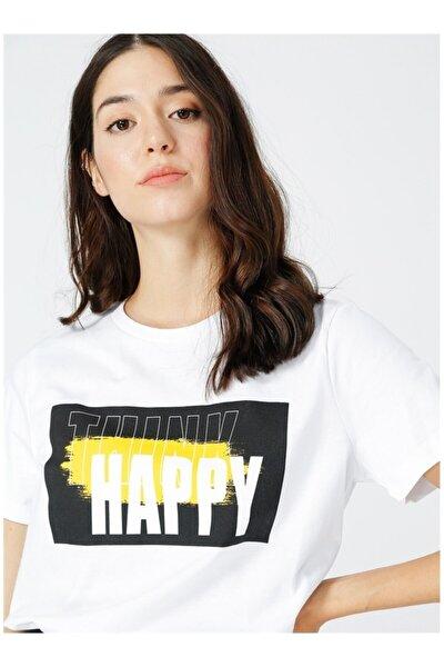 Kadın Beyaz Baskılı Tişört