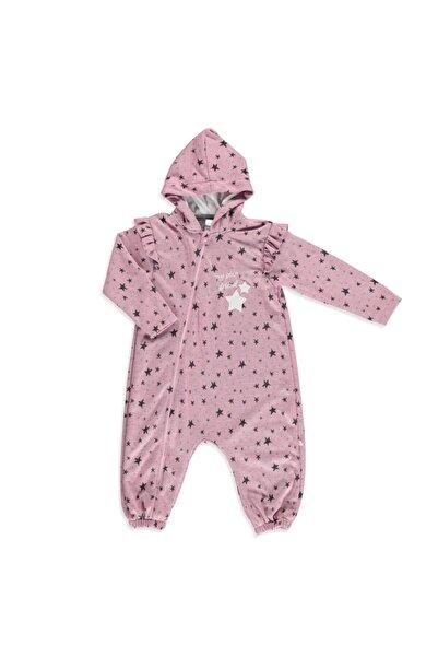 Kız Bebek Pembe Yıldız Desenli Kapüşonlu Tulum