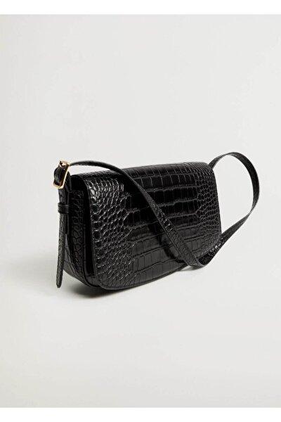 Kadın Siyah Timsah Derisi Görünümlü Baguette Çanta