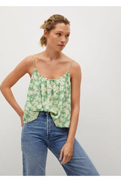 Kadın Yeşil Çiçekli Bluz
