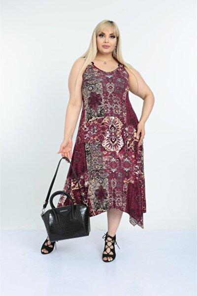 Kadın Bordo Etnik Desen Toka Detaylı Askılı Elbise