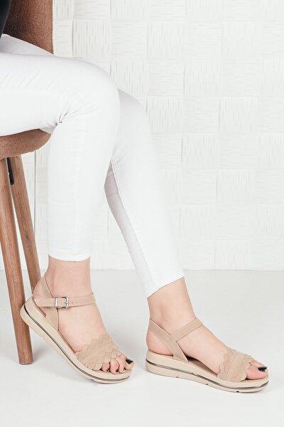 Kadın Bej Süet Düz Taban Çiçekli Terlik Sandalet