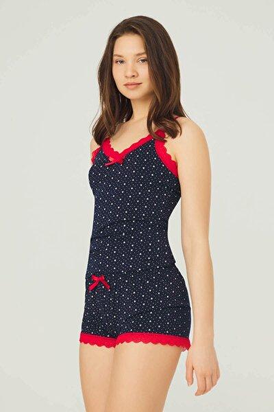 Lacivert Desenli Ince Askılı Şortlu Pamuklu Pijama Takımı