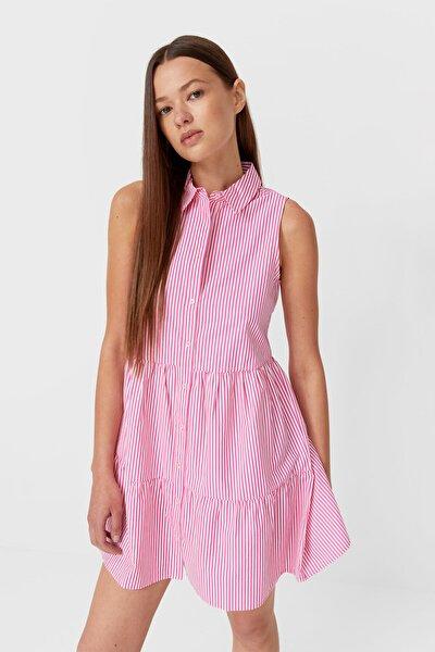 Kadın Pembe Çizgili Gömlek Elbise