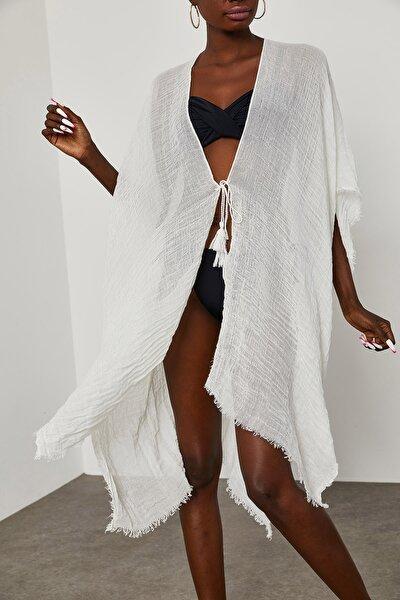 Kadın Beyaz Yanı Yırtmaçlı Bürümcük Kumaş Pareo 1YZK4-11827-01