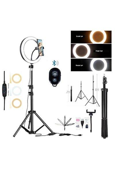 10 Inch Ring Light Led Işık Halka Işık Youtuber,kuaför Bluetooth Kumandalı+ 2 Mt Tripod Işık Ayağı