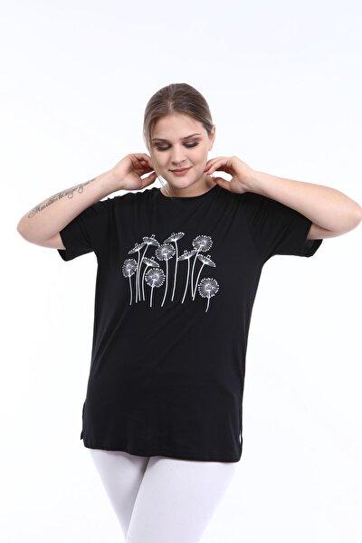 Pianoluce Kadın Büyük Beden Baskılı Yarım Kol T-shirt