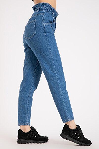 Kadın Yüksek Bel Mavi Kot Pantolon 2207